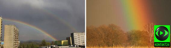 Kolorowe łuki pocięły wiosenne niebo