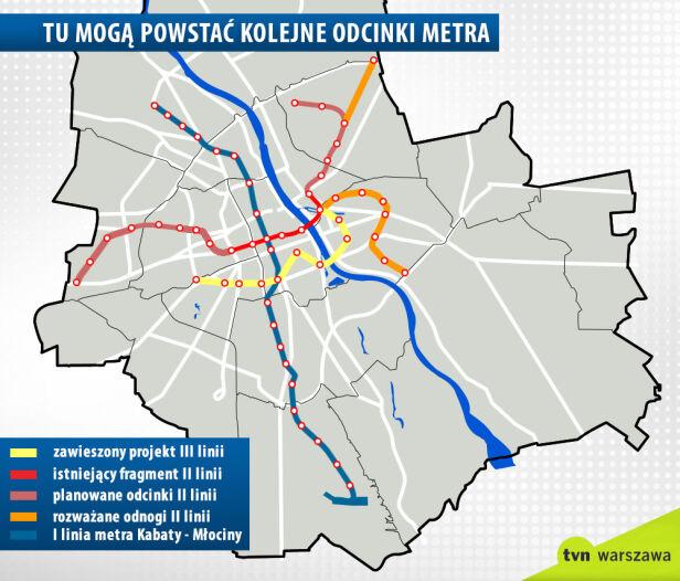 I, II i III linia metra z odnogami tvnwarszawa.pl