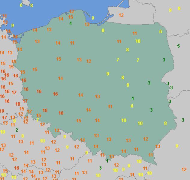 Najwyższe wartości temperatury w niedzielę (wetteronline.de)