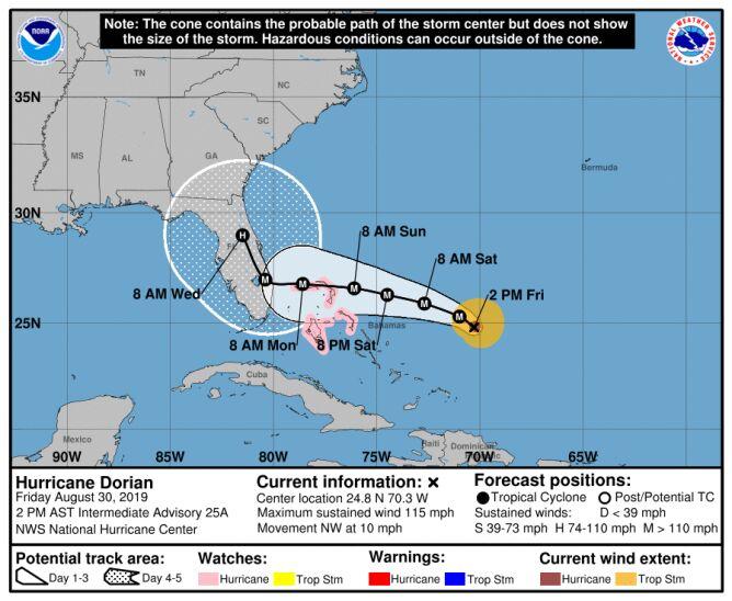 Prognozowana trasa przejścia huraganu Dorian (stan na godzinę 21 w czwartek) (NHC)