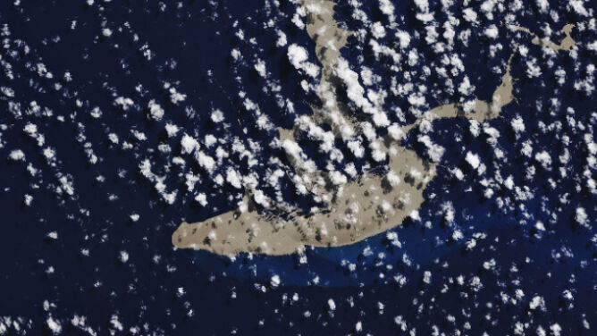 Zdjęcie satelitarne pumeksu (NASA Earth Observatory/Joshua Steven/Landsat/U.S. Geological Survey/Michael Carlowicz)