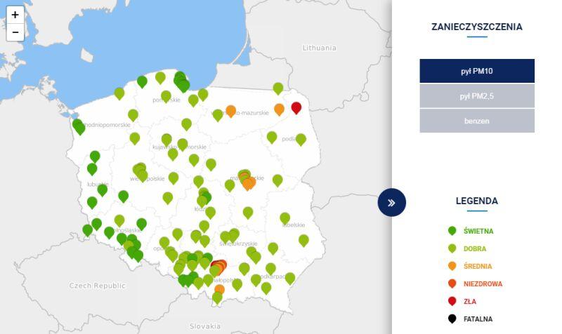Stężenie pyłu PM10 w Polsce około godz. 15